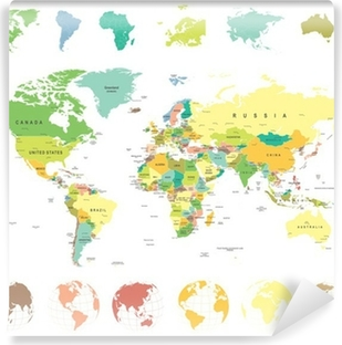 Grayscale world map borders countries and cities illustration world map and globes highly detailed vector illustration vinyl wall mural gumiabroncs Image collections