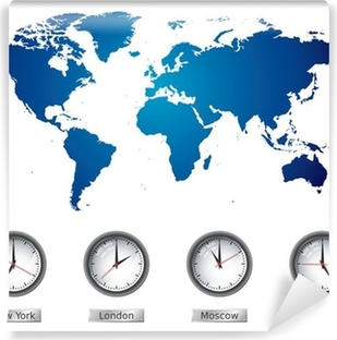 World map and time zone clocks sticker pixers we live to change world map and time zone clocks vinyl wall mural gumiabroncs Gallery