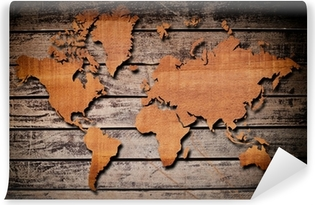 world map pattern on chipboard Wall Mural • Pixers® • We live to change