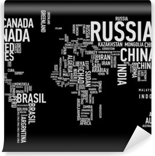 World map: countries of wordcloud Vinyl Wall Mural