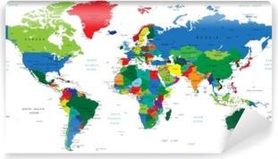 World map-countries Vinyl Wall Mural