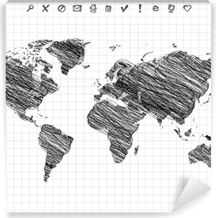 World map drawing pencil sketch wall mural pixers we live to world map drawing pencil sketch vinyl wall mural gumiabroncs Gallery
