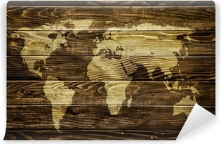 World map on wood background Vinyl Wall Mural