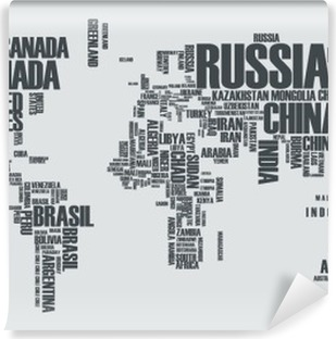 World map:the contours of the country consists of the words Vinyl Wall Mural