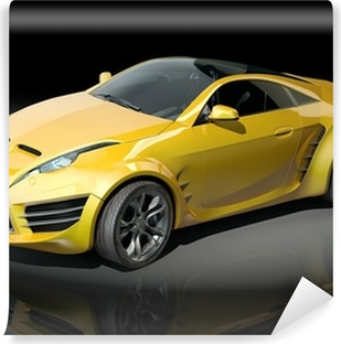 Sports car blueprint non branded concept car wall mural pixers yellow sports car on a black background vinyl wall mural malvernweather Gallery