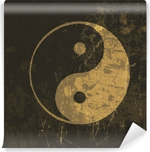 Yin yang grunge icon. With stained texture, vector Vinyl Wall Mural