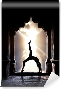 Yoga silhouette in temple Vinyl Wall Mural