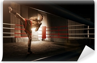 Young man kickboxing in the Arena Vinyl Wall Mural