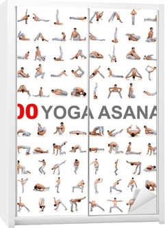 100 yoga poses on white background Wardrobe Sticker
