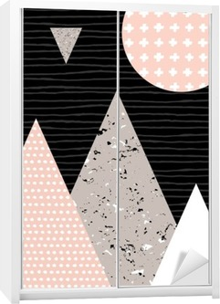 Abstract Geometric Landscape Wardrobe Sticker