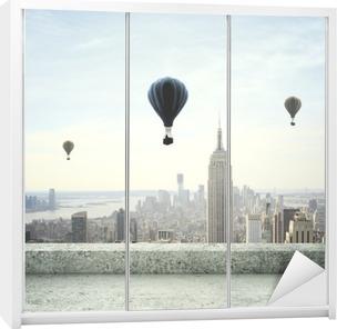 air balloon on sky Wardrobe Sticker