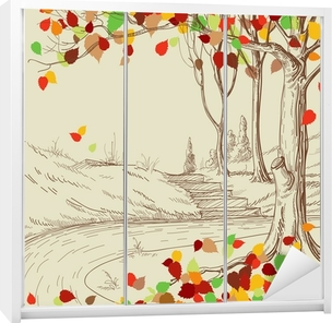 Autumn tree in the park sketch, bright leaves falling Wardrobe Sticker