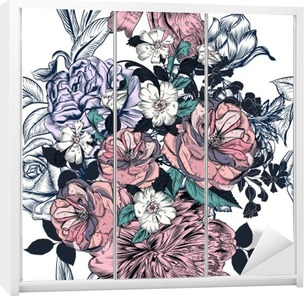 Beautiful seamless pattern with hand drawn roses and flourishes Wardrobe Sticker