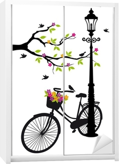 bicycle with lamp, flowers and tree, vector Wardrobe Sticker