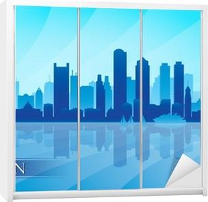 Boston city skyline silhouette background Wardrobe Sticker