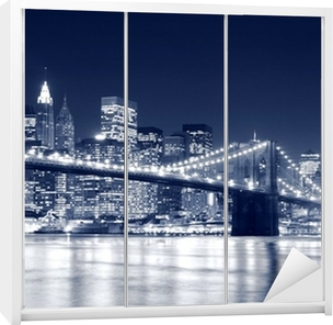 Brooklyn Bridge and Manhattan skyline At Night, New York City Wardrobe Sticker