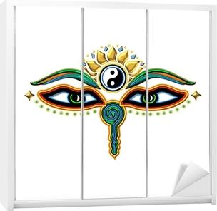 Buddha Augen Yin Yang Wardrobe Sticker