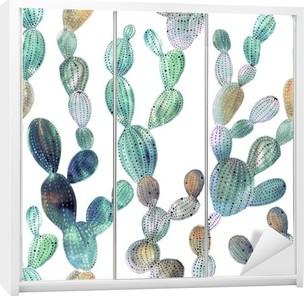 Cactus pattern in watercolor style Wardrobe Sticker