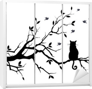 cat on a tree with birds, vector Wardrobe Sticker