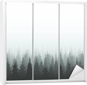 Coniferous forest silhouette template. Woods illustration Wardrobe Sticker