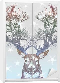 Frozen tree horn deer Wardrobe Sticker