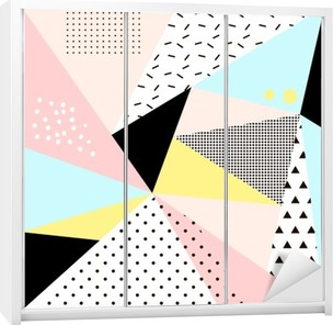 Geometric memphis background.Retro design for invitation, business card, poster or banner. Wardrobe Sticker