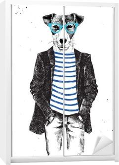 Hand drawn dressed up dog in hipster style Wardrobe Sticker