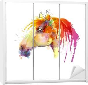 Horse head watercolor painting Wardrobe Sticker