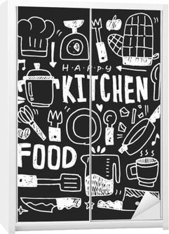 Kitchen elements doodles hand drawn line icon,eps10 Wardrobe Sticker