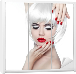 Makeup and Hairstyle. Red Lips and Manicured Nails. Fashion Beau Wardrobe Sticker
