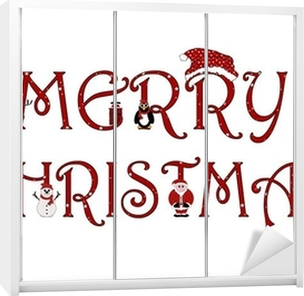 Merry Christmas Sign With Animations - Isolated on white Wardrobe Sticker