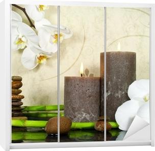 Orchidee weiß mit Bambus und Kerzen und Steinen Wardrobe Sticker