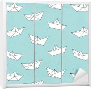 Paper boat pattern Wardrobe Sticker