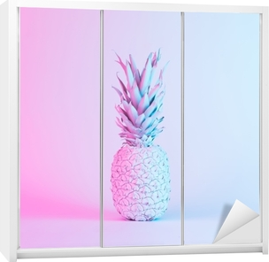 Pineapple in vibrant bold gradient holographic neon colors. Concept art. Minimal surrealism background. Wardrobe Sticker