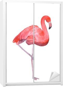 Pink flamingo isolated Wardrobe Sticker