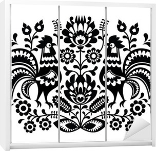 Polish floral embroidery with roosters pattern Wardrobe Sticker