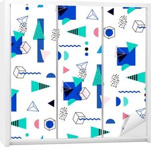 Seamless geometric pattern in retro 80's Wardrobe Sticker