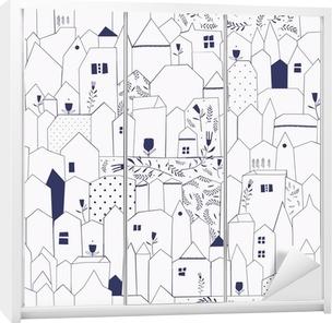 Seamless pattern. Figure cities in vintage style. Wardrobe Sticker