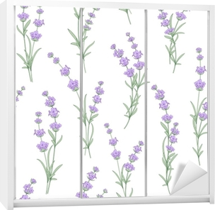 Seamless pattern of lavender flowers on a white background. Watercolor pattern with Lavender for fabric swatch. Seamless pattern for fabric. Vector illustration. Wardrobe Sticker