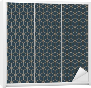 Seamless tan blue and brown isometric cubes pattern vector Wardrobe Sticker