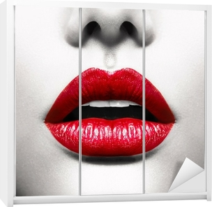 Sexy Lips. Conceptual Image with Vivid Red Open Mouth Wardrobe Sticker