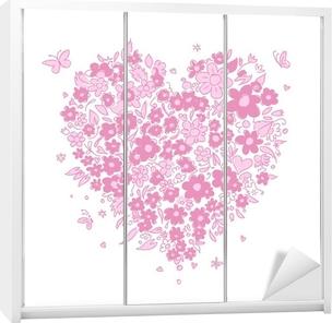 Sketch of floral heart shape for your design Wardrobe Sticker