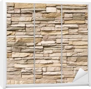 Stacked stone wall background horizontal Wardrobe Sticker