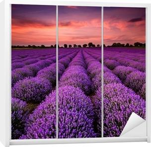 Stunning landscape with a lavender field at sunset Wardrobe Sticker
