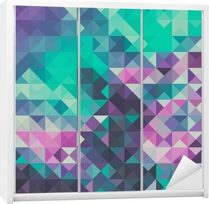 Triangle background, green and violet Wardrobe Sticker