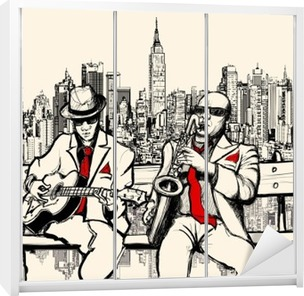 two jazz men playing in New York Wardrobe Sticker