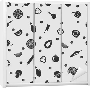 Vector illustration pizza on the background seamless pattern Wardrobe Sticker
