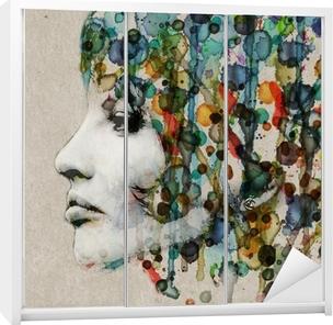 Watercolor female profile Wardrobe Sticker