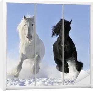 white and black horse Wardrobe Sticker