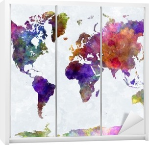 World map in watercolorpurple and blue Wardrobe Sticker